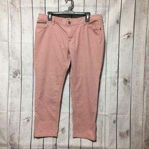 a.n.a Pink Skinny Jeans 16 Stretch Stud Zip Hems